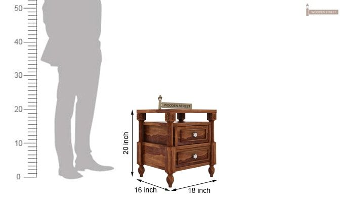 Ventur Bedside Table (Teak Finish)-4