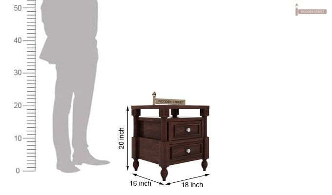 Ventur Bedside Table (Walnut Finish)-4