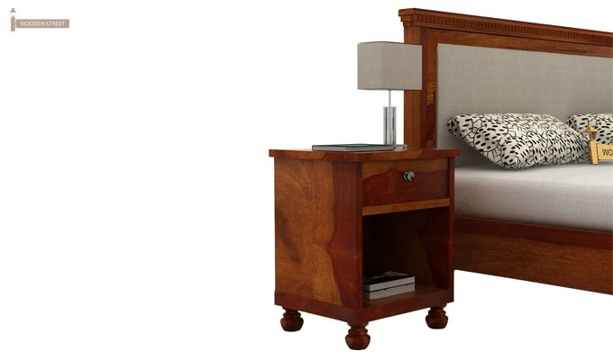 Volgan Bedside Table (Honey Finish)-3