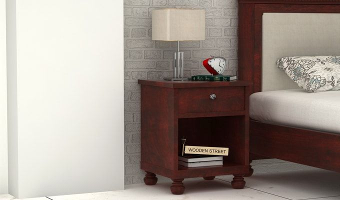 Volgan Bedside Table (Mahogany Finish)-1