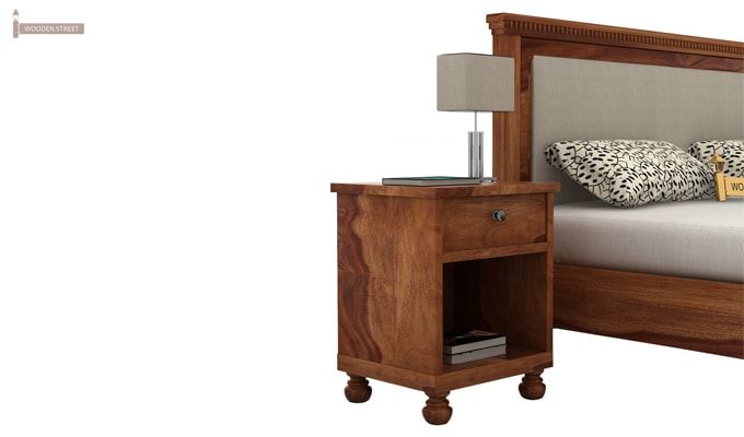 Volgan Bedside Table (Teak Finish)-3