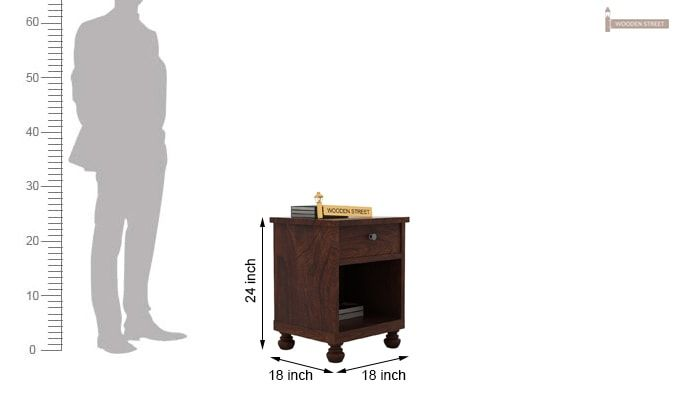 Volgan Bedside Table (Walnut Finish)-4