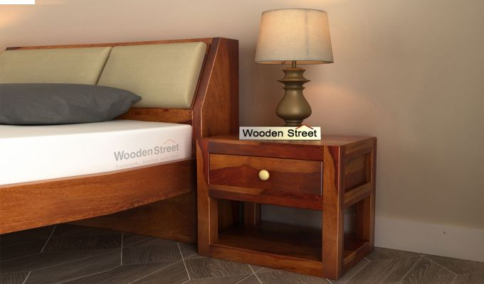 Walken Bedside Table (Honey Finish)-1