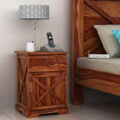 Warner Bedside Table (Teak Finish)