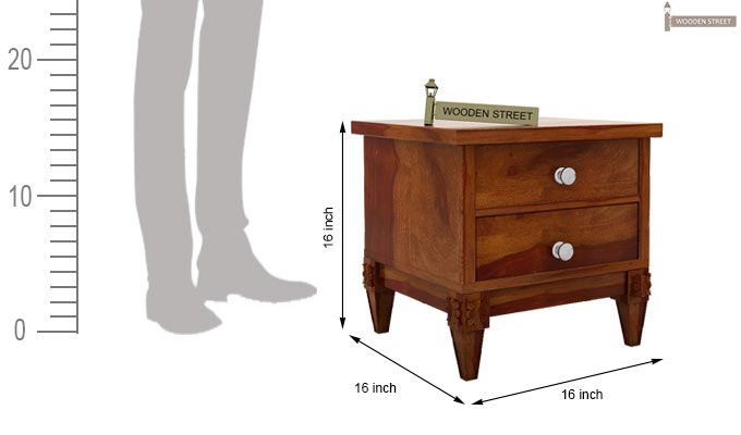 Wopper Bedside Table (Honey Finish)-4