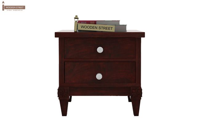 Wopper Bedside Table (Mahogany Finish)-3