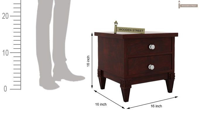 Wopper Bedside Table (Mahogany Finish)-5