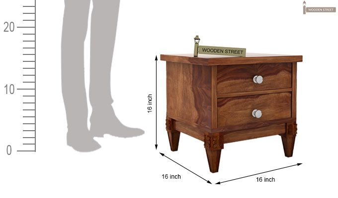 Wopper Bedside Table (Teak Finish)-3