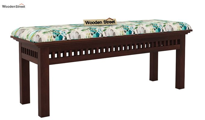 Adolph Bench (Walnut Finish, Aqua Flower)-3