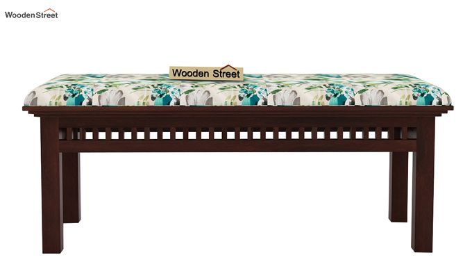 Adolph Bench (Walnut Finish, Aqua Flower)-2