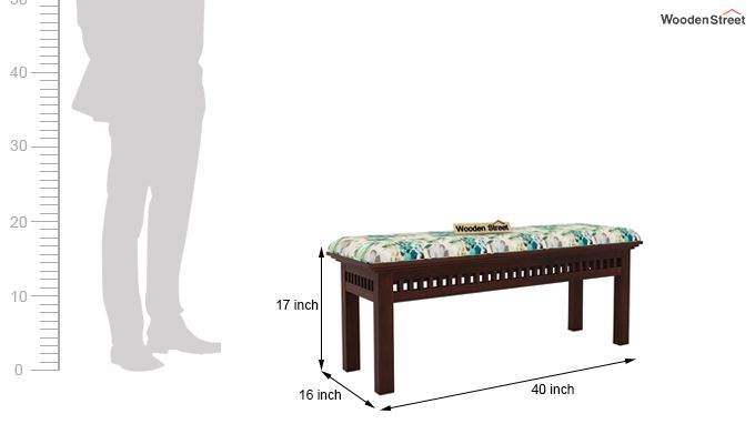 Adolph Bench (Walnut Finish, Aqua Flower)-4
