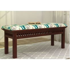 Adolph Bench (Walnut Finish, Aqua Flower)