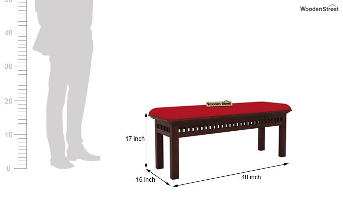 Adolph Bench (Walnut Finish, Dusky Rose)-4