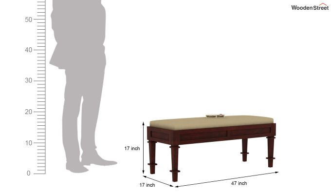 Agora Bench with Upholstery (Mahogany Finish)-3