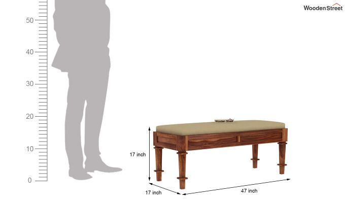 Agora Bench with Upholstery (Teak Finish)-5