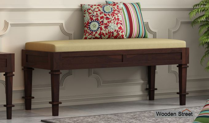 Agora Bench with Upholstery (Walnut Finish)-1