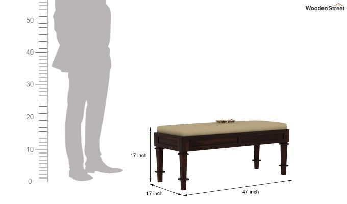 Agora Bench with Upholstery (Walnut Finish)-5