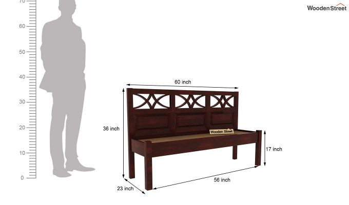 Allan Bench With Back Rest (Mahogany Finish)-6