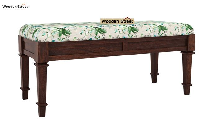 Ativan Bench (Walnut Finish, Aqua Flower)-2