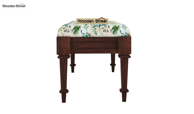 Ativan Bench (Walnut Finish, Aqua Flower)-4