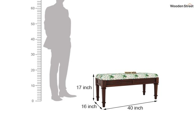 Ativan Bench (Walnut Finish, Aqua Flower)-5
