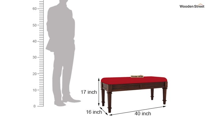 Ativan Bench (Walnut Finish, Dusky Rose)-5