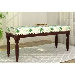 Aurelia Bench (Walnut Finish, Aqua Flower)