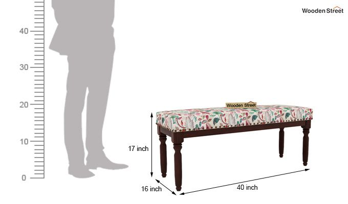Aurelia Bench (Walnut Finish, Rosy Leaf)-4