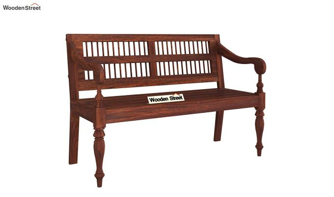 Bardo Bench With Back Rest (Walnut Finish)-2