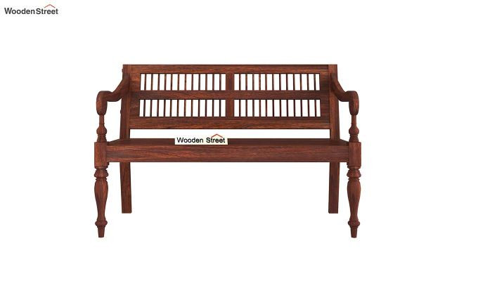 Bardo Bench With Back Rest (Walnut Finish)-3