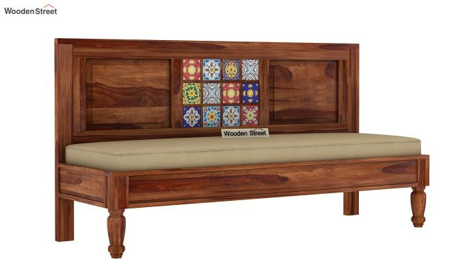 Boho Bench With Back Rest (Teak Finish)-3