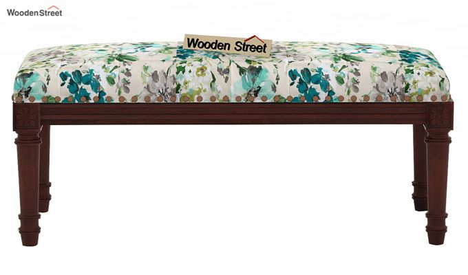 Boldova Bench (Walnut Finish, Aqua Flower)-2