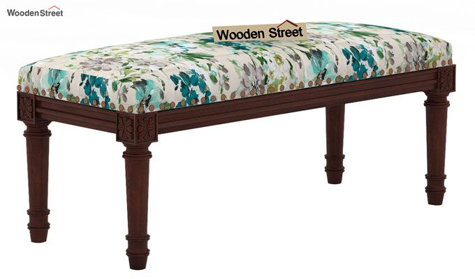 Boldova Bench (Walnut Finish, Aqua Flower)-3