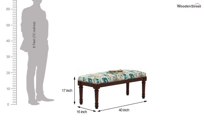 Boldova Bench (Walnut Finish, Aqua Flower)-4