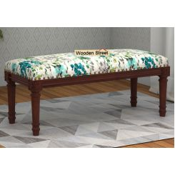 Boldova Bench (Walnut Finish, Aqua Flower)