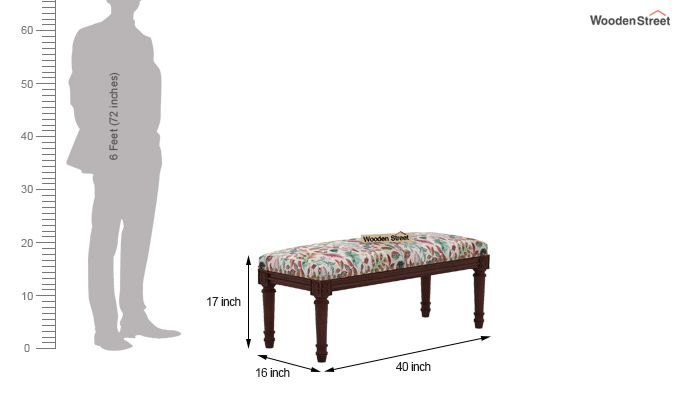 Boldova Bench (Walnut Finish, Rosy Leaf)-4