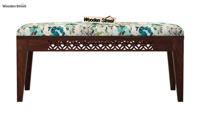 Cambrey Bench (Walnut Finish, Aqua Flower)-3