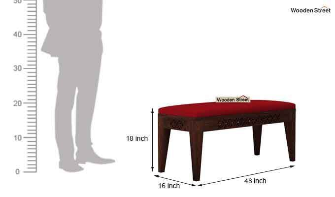 Cambrey Bench (Walnut Finish, Dusky Rose)-4