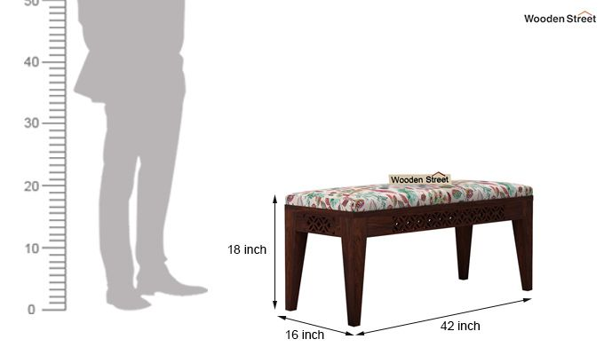 Cambrey Bench (Walnut Finish, Rosy Leaf)-4