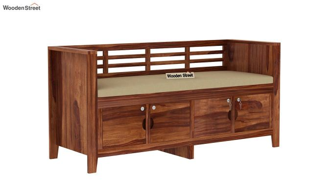 Christie Bench with Upholstery (Teak Finish)-3