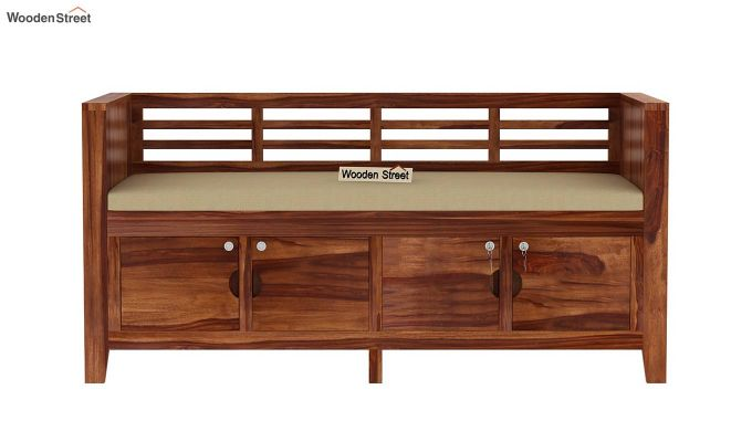 Christie Bench with Upholstery (Teak Finish)-4