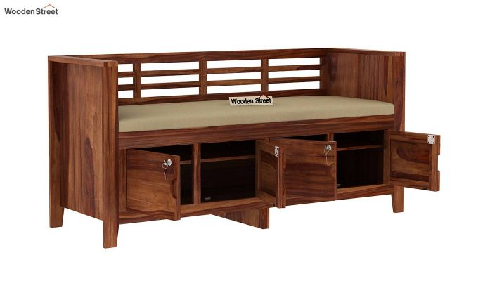 Christie Bench with Upholstery (Teak Finish)-5