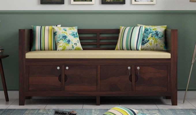 Christie Bench with Upholstery (Walnut Finish)-2