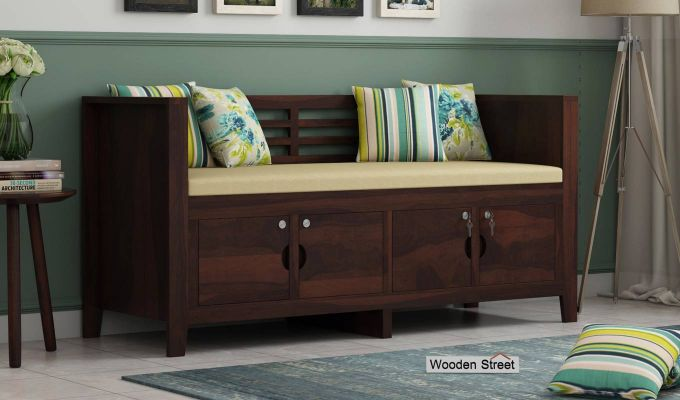 Christie Bench with Upholstery (Walnut Finish)-1