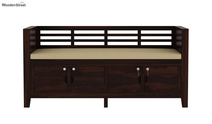 Christie Bench with Upholstery (Walnut Finish)-4