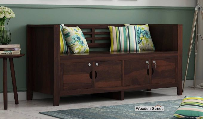 Christie Bench without Upholstery (Walnut Finish)-1