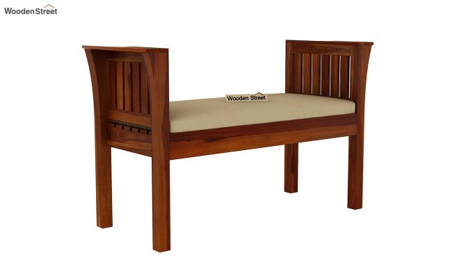 Delano Bench with Upholstery (Honey Finish)-2