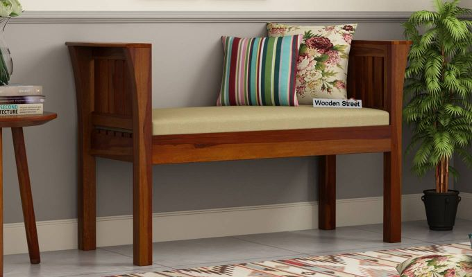 Delano Bench with Upholstery (Honey Finish)-1