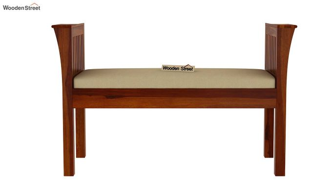 Delano Bench with Upholstery (Honey Finish)-3