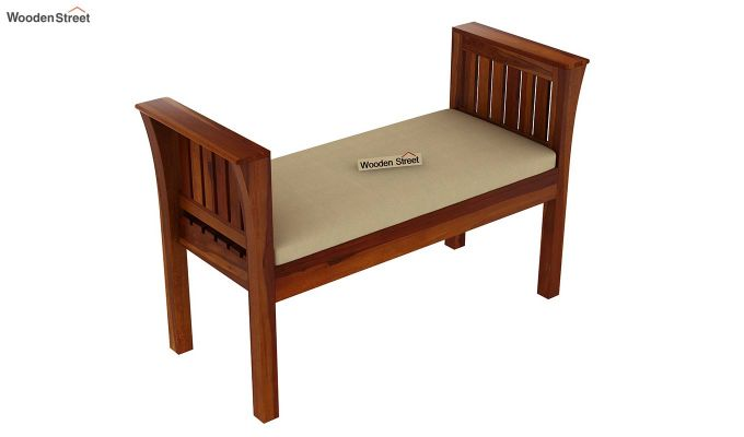 Delano Bench with Upholstery (Honey Finish)-4